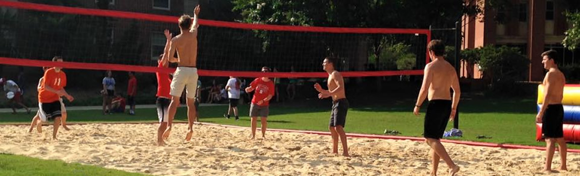 Summer Start students playing volleyball